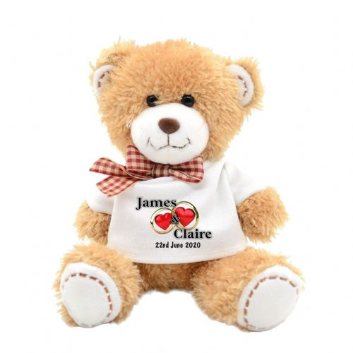 Personalised Wedding Rings Soft Plush Teddy Bear N3